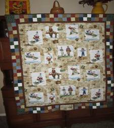 norman rockwell fishing quilt